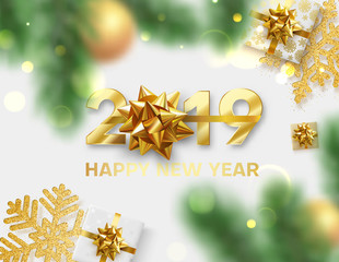 Happy New Year 2019 card with golden bow, snowflakes, gifts and blurred fir branches.