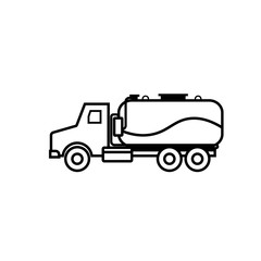 Septic tank truck outline icon. Clipart image isolated on white background