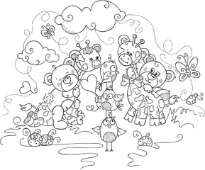 Kids coloring page of cute teddy bears and giraffes