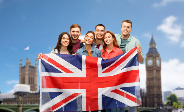 travel, citizenship and education concept - group of smiling friends with british flag over london big ben background