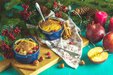 Christmas and New Year composition with sweet delicious apples d