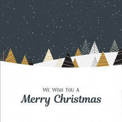 Merry Christmas card with creative fir trees and snow.