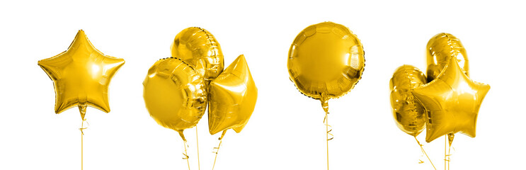 holidays and birthday party decoration concept - many metallic gold helium balloons of different shapes over white background