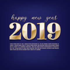 Happy New year 2019 greeting postcard gold paper text, vector illustration.