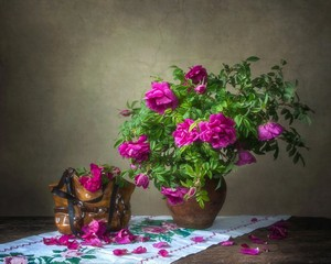 Still life with beautiful bouquet of wild roses