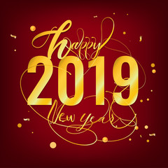 Happy New Year 2019 Greeting Card postcard gold paper text, vector illustration