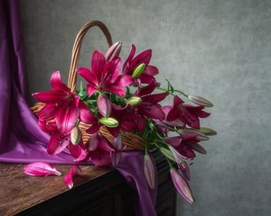 Still life with beautiful bouquet of lily flowers