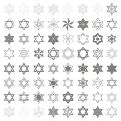 set of monochrome icons with star of David traditional Jewish symbol for your design