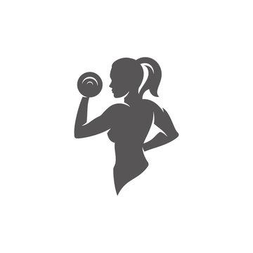 Female bodybuilder lifting dumbbells silhouette isolated on white background vector illustration.