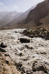 Border river Panj River in Wakhan valley with Tajikistan left and Afghanistan right