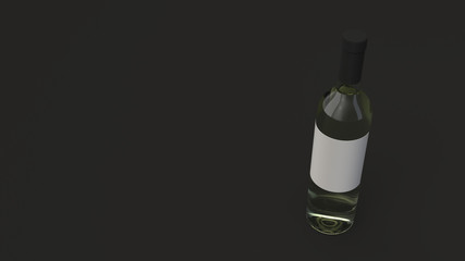 Mockup for bottle of white wine with blank label