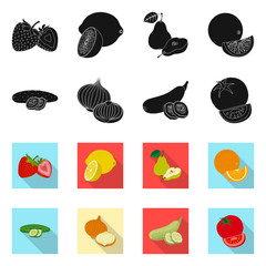 Isolated object of vegetable and fruit symbol. Collection of vegetable and vegetarian vector icon for stock.