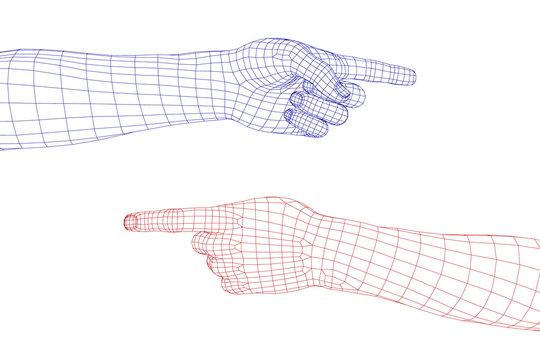 Hand gesture. Finger pointing symbol. Vector wireframe illustration.