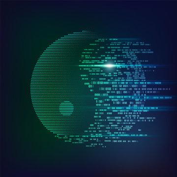 concept of technological balance, yin yang symbol in futuristic