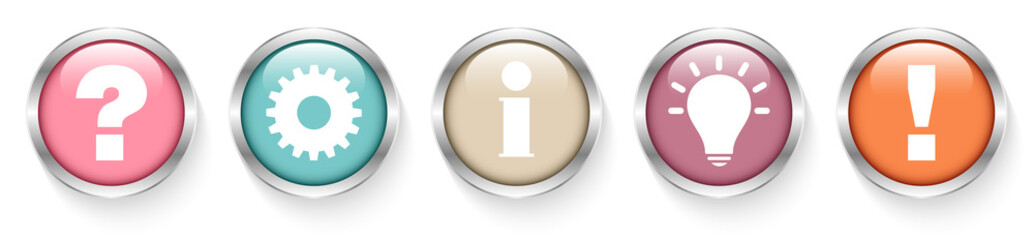 Buttons Question, Work, Information, Idea & Answer Retro Silver