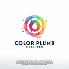 Colorful Plumbing logo vector, Water Drop logo designs template, design concept, logo, logotype element for template