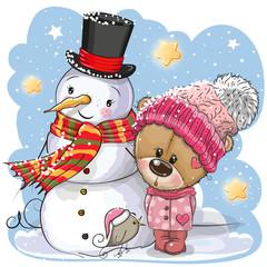 Snowman and Cute Teddy Bear girl in a hat