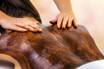 Therapist doing cacao massage on female spine.