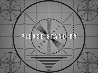 Vintage tv test screen. Please stand by television calibration pattern.