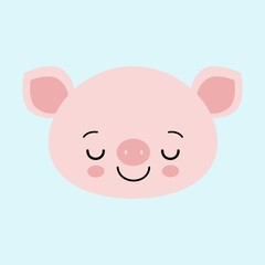 Cute sleeping pink pig. Happy New Year. Chinese symbol of the 2019 year. Excellent festive gift card.