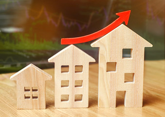 The concept of real estate market growth. The increase in housing prices. Rising prices for utilities. Increased interest in mortgage and rising interest rates on mortgages. Rent increase.