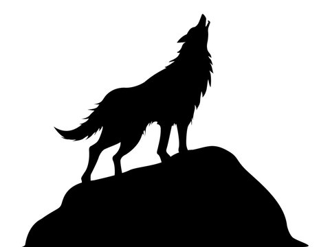Silhouette of howling wolf vector illustration