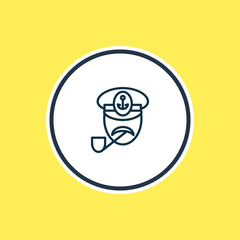 Vector illustration of captain icon line. Beautiful naval element also can be used as sailor icon element.