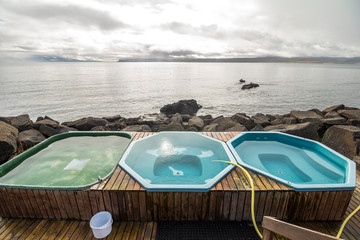 Drangsnes hot pools in westfjord region of Iceland