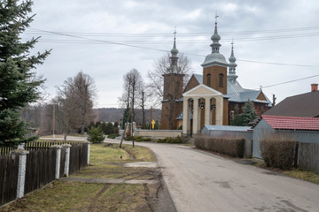 Jacmierz village in Poland - typical houses