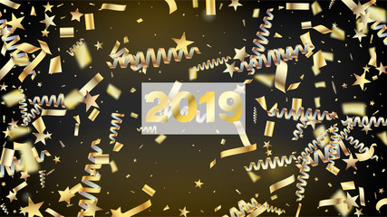 2019 Realistic Gold Tinsel Confetti, Flying Foil Blast. Cool Platinum Christmas, New Year, Birthday Party Holiday Banner. Horizontal Lights Shapes Background. Realistic Gold Tinsel Confetti