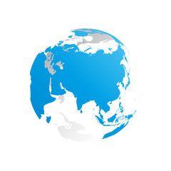 3D planet Earth globe. Transparent sphere with blue land silhouettes. Focused on Asia.