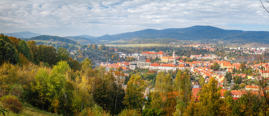 Panoramic view of the historic city of Cesky Krumlov with famous Cesky Krumlov Castle