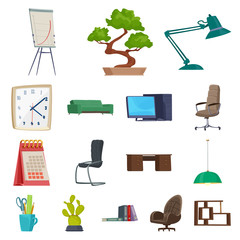 Isolated object of furniture and work symbol. Set of furniture and home vector icon for stock.