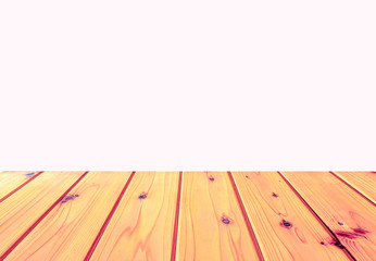 Isolated Hard wood terrace on the white background with clipping path.