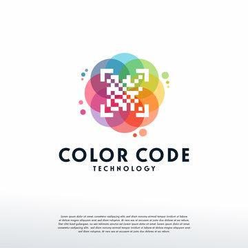 Colorful QR Code logo vector, Code logo designs template, design concept, logo, logotype element for template