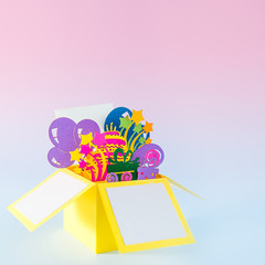 Happy birthday handcraft pop -up greeting card made of paper. Bright postcard with 3D paper figure...