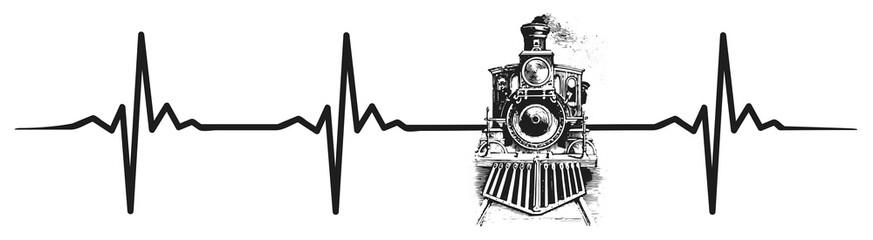 Locomotive heartbeat #isoliert #vektor - Lokomotive Herzschlag