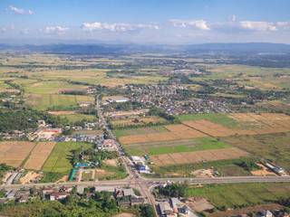 Aerial view of residential neighborhood in Chiangrai, Thailand.