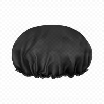 Vector. Mock Up. Black transparent Shower cap. Front side.