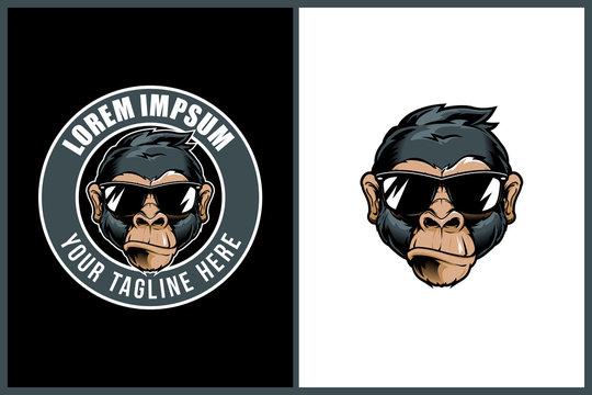 cute monkey cartoon head or chimpanzee wearing sunglasses vector round or stamp logo template