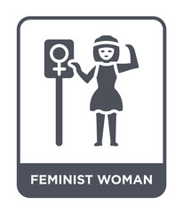 feminist woman icon vector