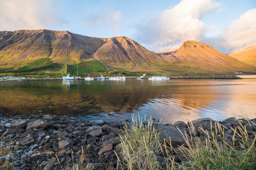 Small beautiful town Flateyri, west fjords, Iceland