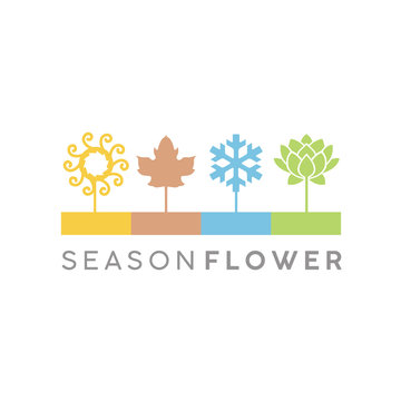 Four Flower Seasons Icon Illustration Logo design