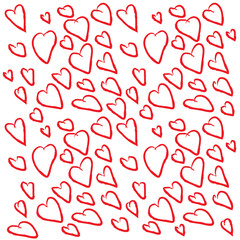 Background of hearts for Valentines day. Hand drawn hearts. Design elements for Valentines day.