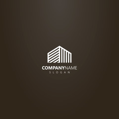 white logo on a black background. vector geometric abstract line art outline logo top of high-rise building or other house
