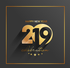 Happy New Year 2019 Golden Text Design  Patter, Vector illustration.