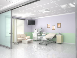 Interior hospital and cosmetology room. 3d illustration