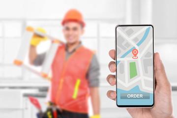 ordering technician online via smartphone