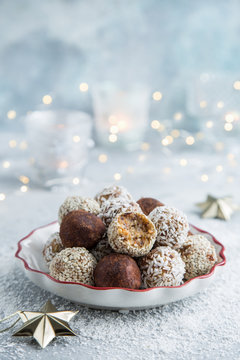 healthy raw dates and coconut candies balls