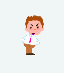 Businessman in casual style is slightly angry.